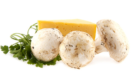 mushrooms and cheese on white background photo