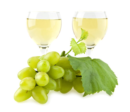 white wine glass: glasses of wine and cluster of vine on a white background Stock Photo