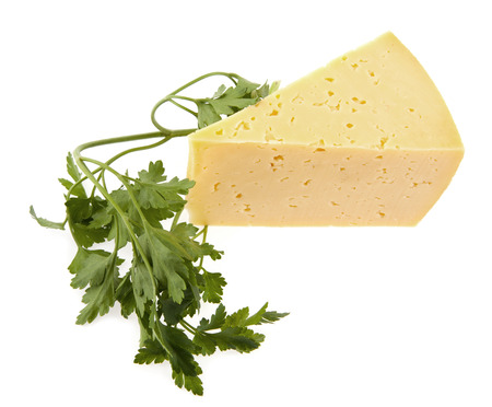 parsley and cheese on a white background photo