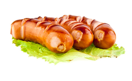 sausages on a white background photo