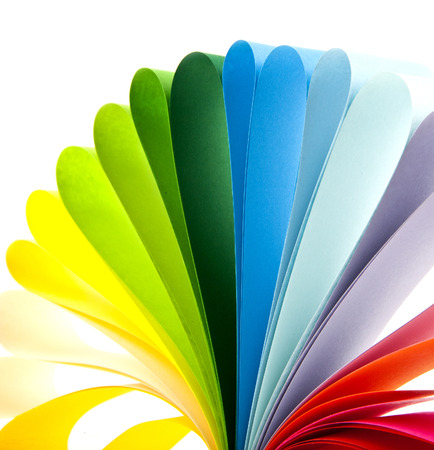 coloured paper on a white background photo
