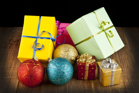 gifts on a black background photo