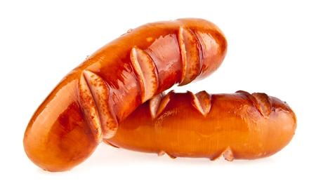 saucisse: saucisses sur un fond blanc Banque d'images