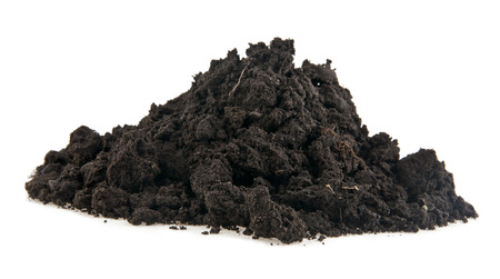 heap of soil on a white background photo
