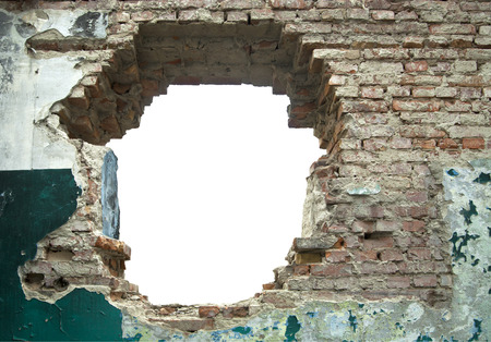 white hole: old wall with a white hole as a scope Stock Photo