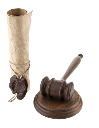 arbitrate: mallet and old paper on a white background