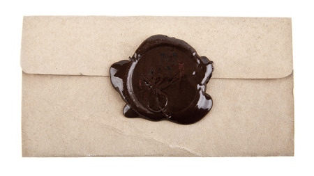 wax stamp: Old paper with wax stamp on a white background