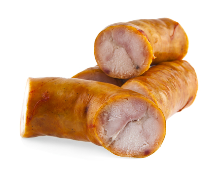 no way out: sausages on white background Stock Photo