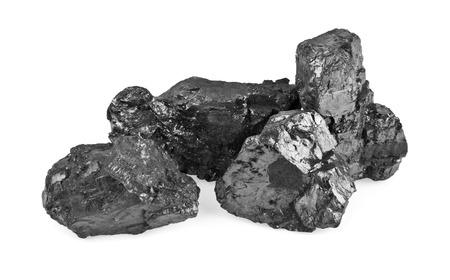 calorific: coal on a white background Stock Photo