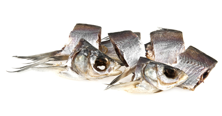 kipper: dried fish on a white background Stock Photo