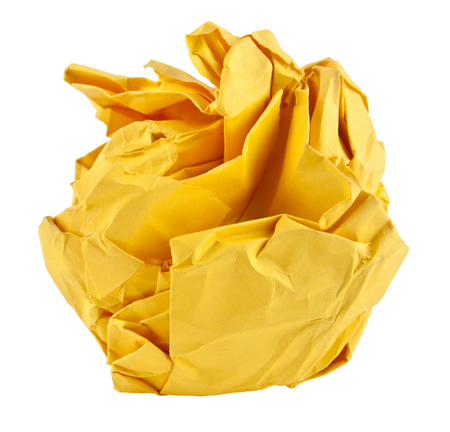crumpled paper: yellow paper Isolated on White Background Stock Photo