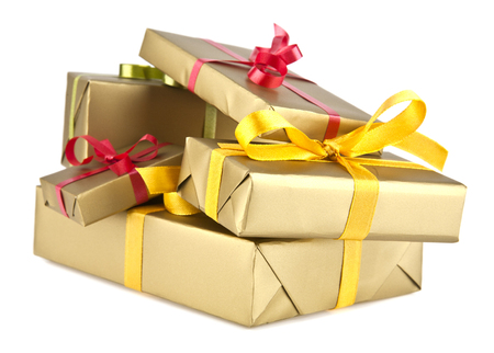 closed ribbon: boxes with gifts on a white background