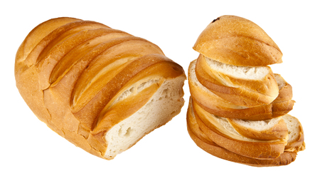 long loaf: long loaf of bread isolated on a white background