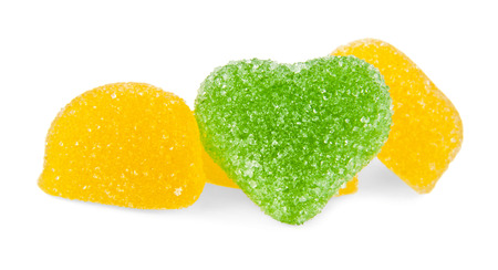 jellies: fruit jellies hearts on a white background Stock Photo