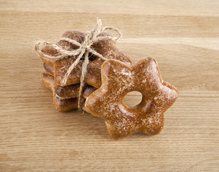 gingerbread cookies: gingerbread cookies on wooden background Stock Photo