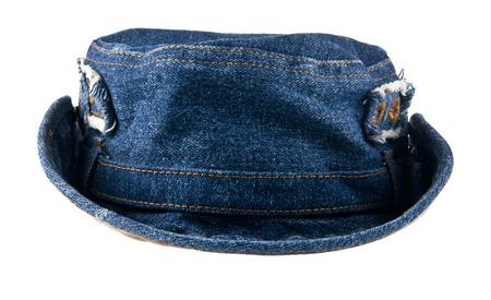 cloth cap: denim hat on white background Stock Photo