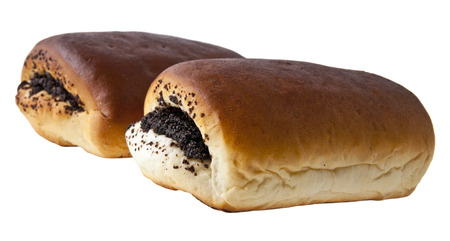 bap: loaf with a poppy is isolated on a white background Stock Photo