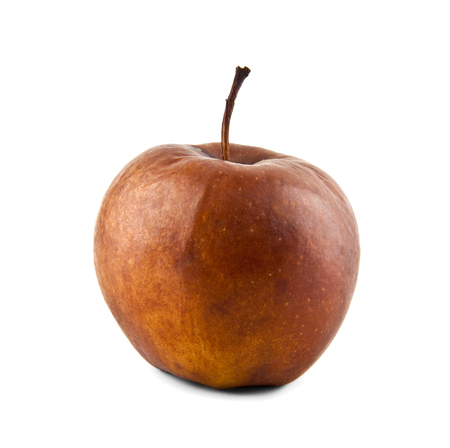 putrid: wormy apple on a white background