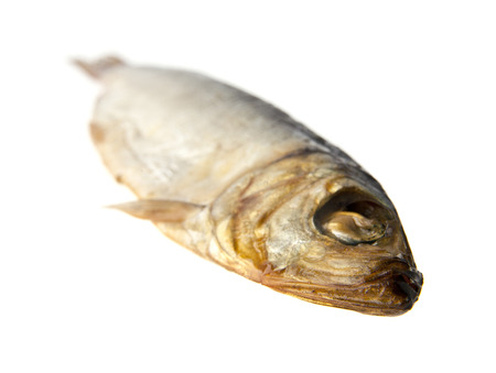 sprat: the smoked sprat is isolated on a white background Stock Photo