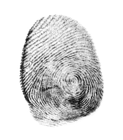 fingerprinted: fingerprint isolated on white background Stock Photo