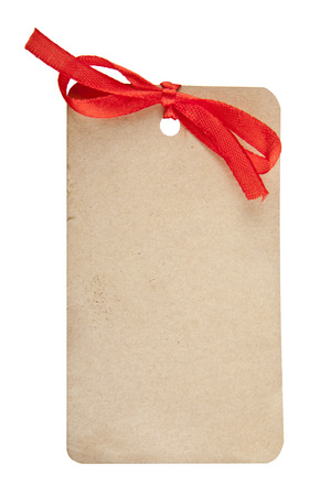 christmas tag: tag with a bow on a white background
