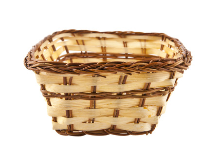 wicker basket isolated on white background closeup