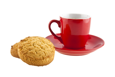 macchiato: Cup of coffee and biscuits isolated on white background closeup Stock Photo
