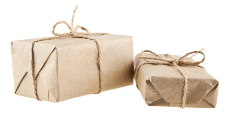 paper parcels isolated on white background