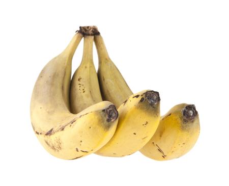 three ripe banana isolated on white background