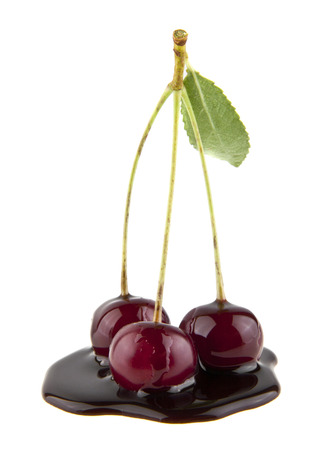 cherry in chocolate isolated on white background Stock Photo