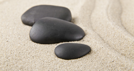 stones on sand for relaxation as background Banco de Imagens