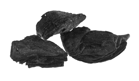 black charcoal isolated on white background