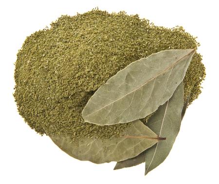 ground bay leaf isolated on white background
