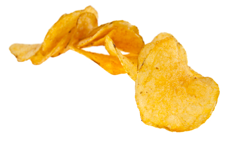 crispy potato chips isolated on white background. As an element of packaging design Banco de Imagens