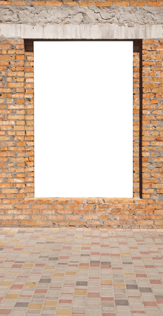 brick wall with hole isolated on white background 스톡 콘텐츠
