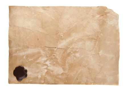 old paper with sealing seal isolated on white background