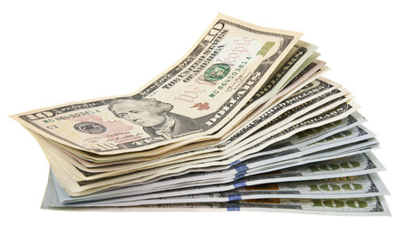 dollars isolated on white background closeup