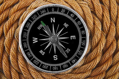 compass on a rope background