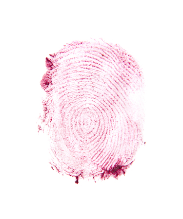 red finger print isolated on white background Imagens