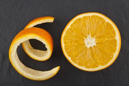 orange on black slate background