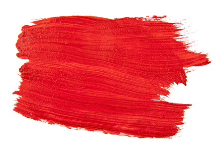 smears of red paint isolated on white background Stock Photo