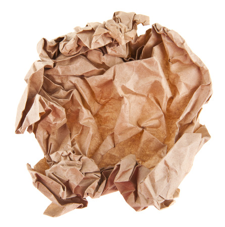 brown wrinkled paper isolated on white background close-up 스톡 콘텐츠