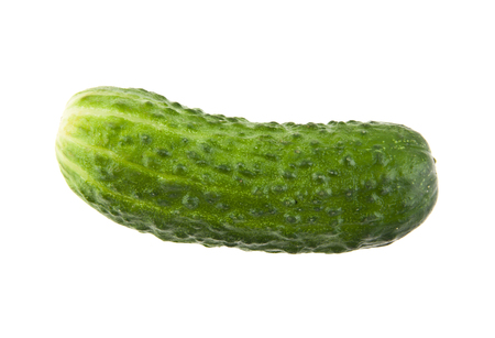 fresh green cucumber isolated on white background closeup