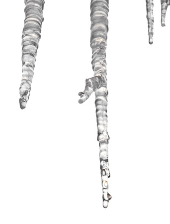 Icicles isolated on white background closeup Stock Photo