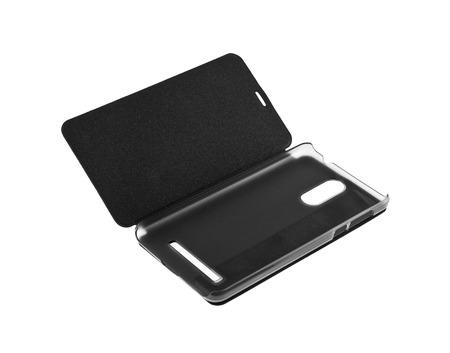 black phone case isolated on white background Imagens