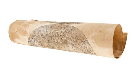 Ancienne carte isolée sur fond blanc close-up