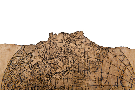 Old map isolated on white background close-up
