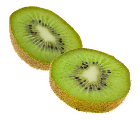 cut green kiwi isolated on white background close up