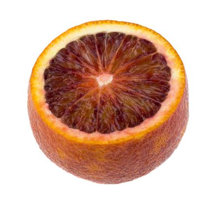 cut orange isolated on white background close up