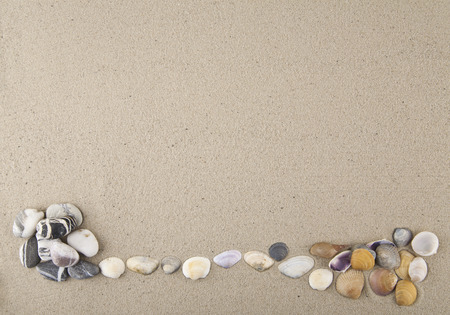 Seashells and stones on the sand. View from above.